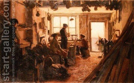 The Blockmaker's Shop by J. Cooke - Reproduction Oil Painting