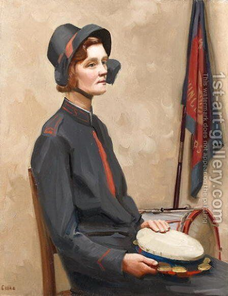 Portrait of a Salvation Army songster, c.1938 by Mollie Cooke - Reproduction Oil Painting