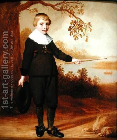 Portrait of a Seven-year old Boy in a River Landscape  1640 by Henry I  (after) Cooke - Reproduction Oil Painting
