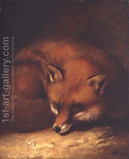 A Fox  1817 by Abraham Cooper - Reproduction Oil Painting