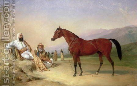 Two Bedouin with a Bay Arab Stallion in the Desert, 1860 by Abraham Cooper - Reproduction Oil Painting