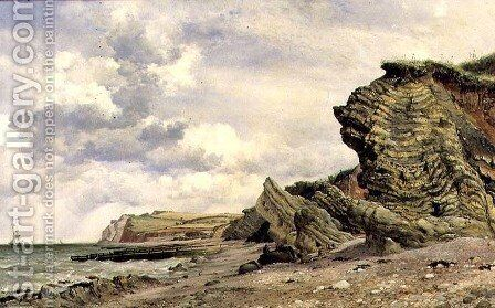Triassic Cliffs at Blue Anchor, North Somerset, 1866 by Edward William Cooke - Reproduction Oil Painting