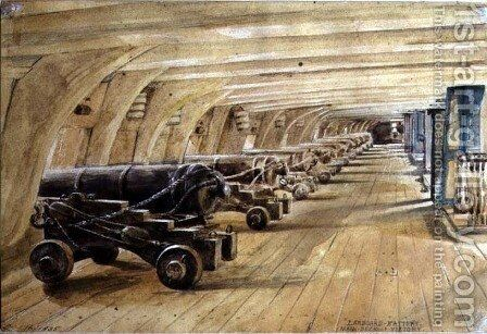 Larboard Battery, Main Deck of the Victory, 16 September 1835 by Edward William Cooke - Reproduction Oil Painting