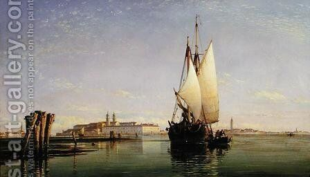 The Euganean Hills and the Laguna of Venice - Trabaccola Waiting for the Tide, Sunset, 1853 by Edward William Cooke - Reproduction Oil Painting