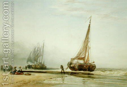 Dutch Fishing Boats on the Beach with Groups of Fisherfolk, 1856 by Edward William Cooke - Reproduction Oil Painting