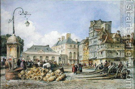 A Market Square on the Continent by Edward William Cooke - Reproduction Oil Painting