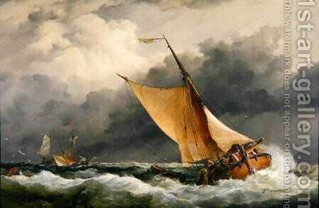 Dutch cargo boats in rough sea by Edward William Cooke - Reproduction Oil Painting