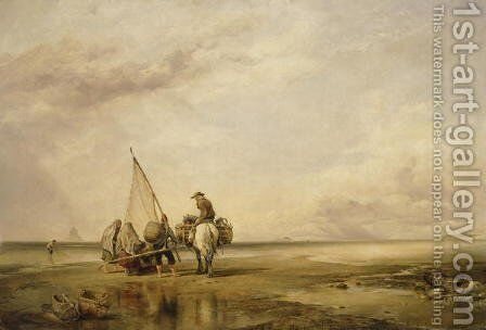 Mont St. Michel, Shrimpers, 1842 by Edward William Cooke - Reproduction Oil Painting