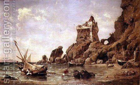 Tower of Erchia, Gulf of Salerno, 1849 by Edward William Cooke - Reproduction Oil Painting