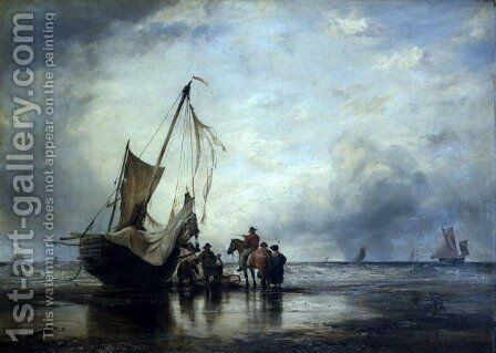 Hog Boat on the Sands, Brighton by Edward William Cooke - Reproduction Oil Painting