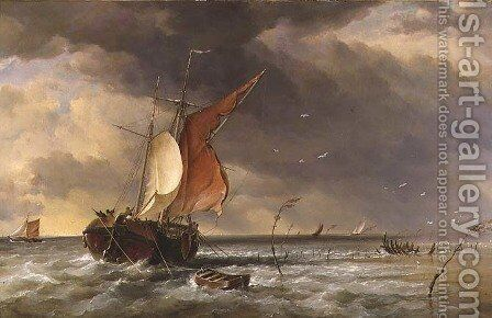 A Dutch Galliot aground on a sandbank on the Bies Bosch, 1878 by Edward William Cooke - Reproduction Oil Painting