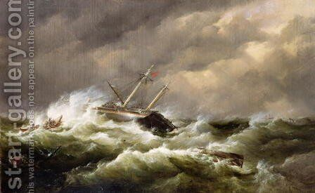Rescue on the Goodwin Sands by the North Deal Lifeboat by Edward William Cooke - Reproduction Oil Painting