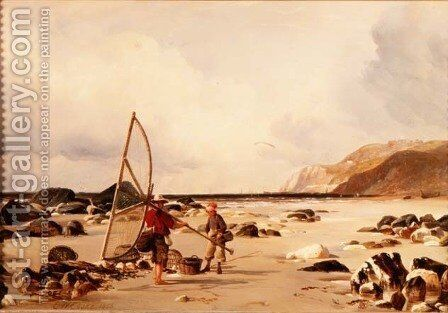Shrimpers on a beach, 1850 by Edward William Cooke - Reproduction Oil Painting