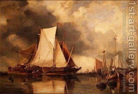 Fishing Boats Aground on the Scheldt by Edward William Cooke - Reproduction Oil Painting