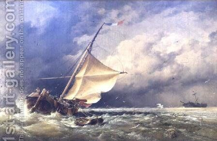 A Dutch Beurtman aground on the Terschelling Sands or In the North Sea after a Snowstorm, 1865 by Edward William Cooke - Reproduction Oil Painting