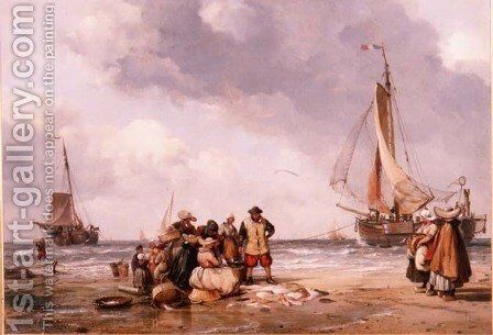 Fisherfolk Counting the Catch by Edward William Cooke - Reproduction Oil Painting