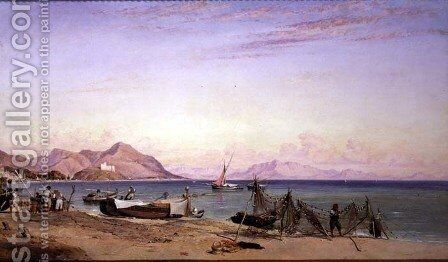 Salerno, Drying Nets by Edward William Cooke - Reproduction Oil Painting