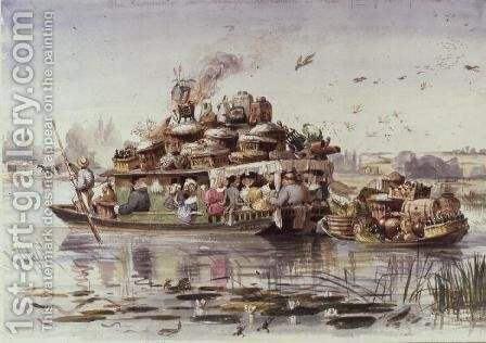 The Kimpany on their Voyage to Nuneham with Part of their Provisions, 1835 by Edward William Cooke - Reproduction Oil Painting