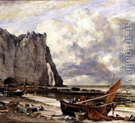 Etretat, Beach with Arch by Edward William Cooke - Reproduction Oil Painting