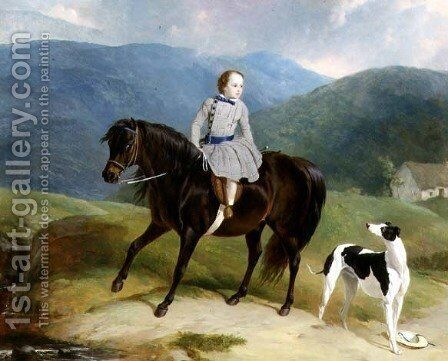 Master Edward Coutts Marjoriebanks on his Pony, c.1851 by Abraham Cooper - Reproduction Oil Painting