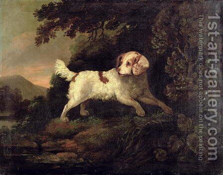 Study of Clumber Spaniel in Wooded River Landscape by Edward Cooper - Reproduction Oil Painting