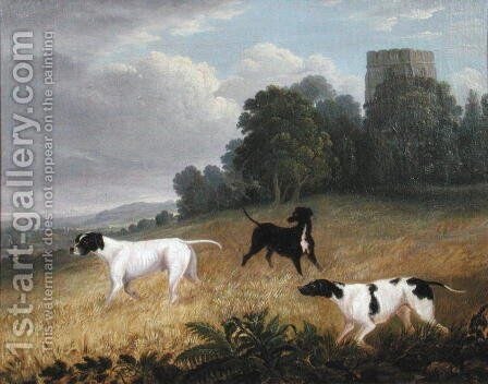 Pointers in a Landscape by Edwin Cooper - Reproduction Oil Painting