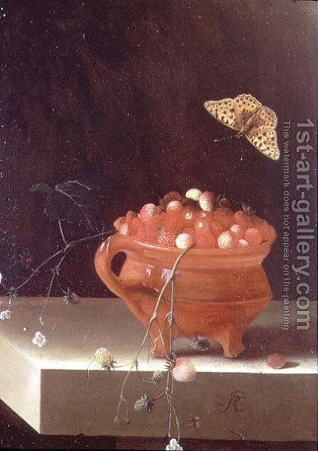 A Pot of Wild Strawberries by Adriaen Coorte - Reproduction Oil Painting