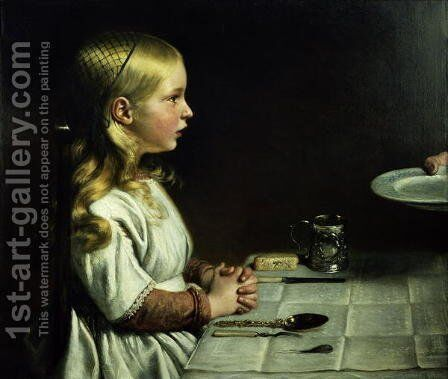 Florence Cope Saying Grace at Dinnertime by Charles West Cope - Reproduction Oil Painting