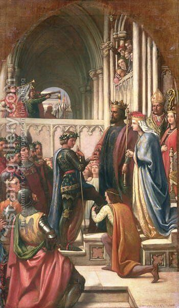 Edward III Conferring the Order of the Garter of Edward the Black Prince, 1847 by Charles West Cope - Reproduction Oil Painting