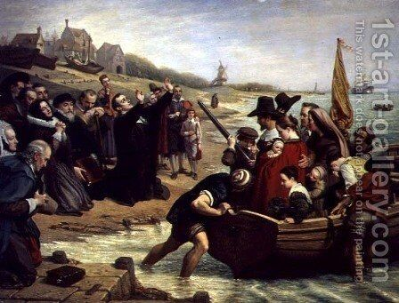 The Pilgrim Fathers: Departure of a Puritan Family for New England, 1856 by Charles West Cope - Reproduction Oil Painting