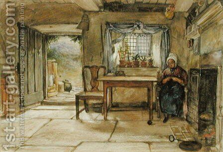 Cottage Interior, 1840 by Charles West Cope - Reproduction Oil Painting