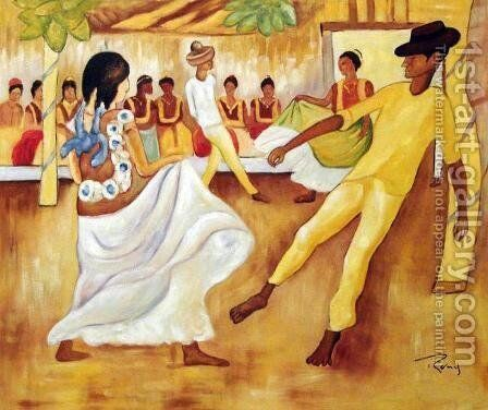 Baile En Tehuantepec by Diego Rivera - Reproduction Oil Painting