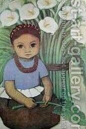 Child with Calla Lillies by Diego Rivera - Reproduction Oil Painting