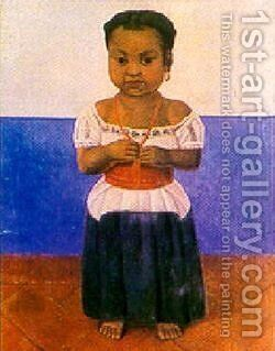 Girl With Coral Necklace by Diego Rivera - Reproduction Oil Painting