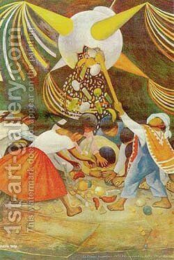La Pinata by Diego Rivera - Reproduction Oil Painting