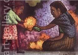 Mothers Helper by Diego Rivera - Reproduction Oil Painting