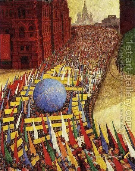 May Day Procession In Moscow 1956 by Diego Rivera - Reproduction Oil Painting