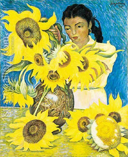 Muchacha Con Girasoles by Diego Rivera - Reproduction Oil Painting