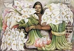 Vendedora De Alcatraces 1938 by Diego Rivera - Reproduction Oil Painting