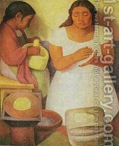 Tortilla-Maker by Diego Rivera - Reproduction Oil Painting
