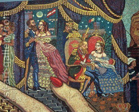 History of the Theatre in Mexico (detail of Ferdinand-Joseph Maximilian and his wife, Charlotte) 1953 by Diego Rivera - Reproduction Oil Painting