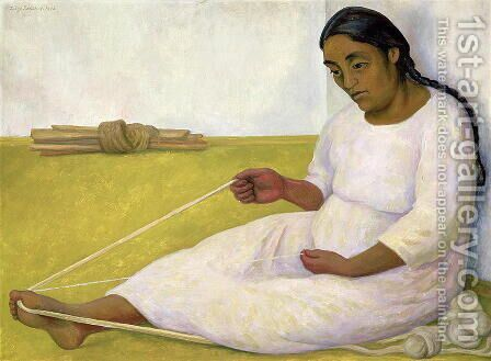 Indian Spinning by Diego Rivera - Reproduction Oil Painting