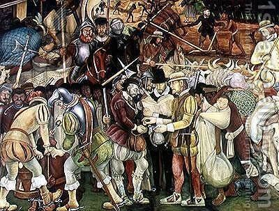 The Conquest or Arrival of Hernan Cortes in Veracruz, from the cycle Pre-Hispanic and Colonial Mexico,  1951 by Diego Rivera - Reproduction Oil Painting