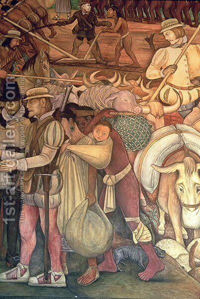 The Conquest, or Arrival of Hernan Cortes in Veracruz, from the series Epic of the Mexican People, 1929-35 by Diego Rivera - Reproduction Oil Painting