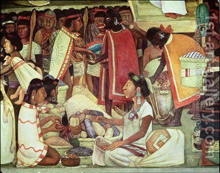 The Great City of Tenochtitlan, detail of women selling maize, 1945 by Diego Rivera - Reproduction Oil Painting