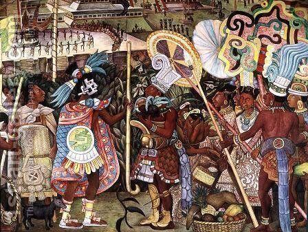 The Culture of Totonaken, detail of Totonac nobility trading with Aztec merchants 1950 by Diego Rivera - Reproduction Oil Painting