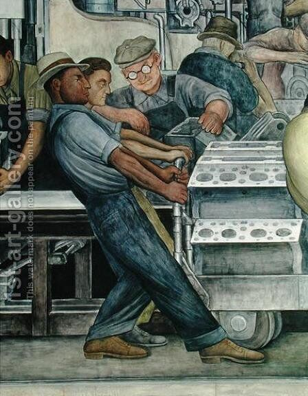 Detroit Industry-4, 1933 by Diego Rivera - Reproduction Oil Painting