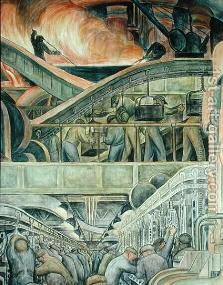 Detroit Industry-5,  1933 by Diego Rivera - Reproduction Oil Painting