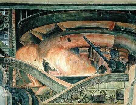 Detroit Industry-8,  1933 by Diego Rivera - Reproduction Oil Painting
