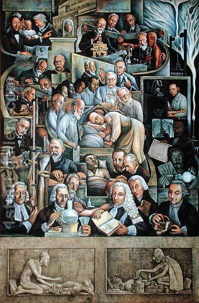 The History of Cardiology  1943-44 by Diego Rivera - Reproduction Oil Painting